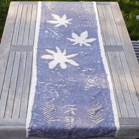 Ecoprinted Linen Table Runner a