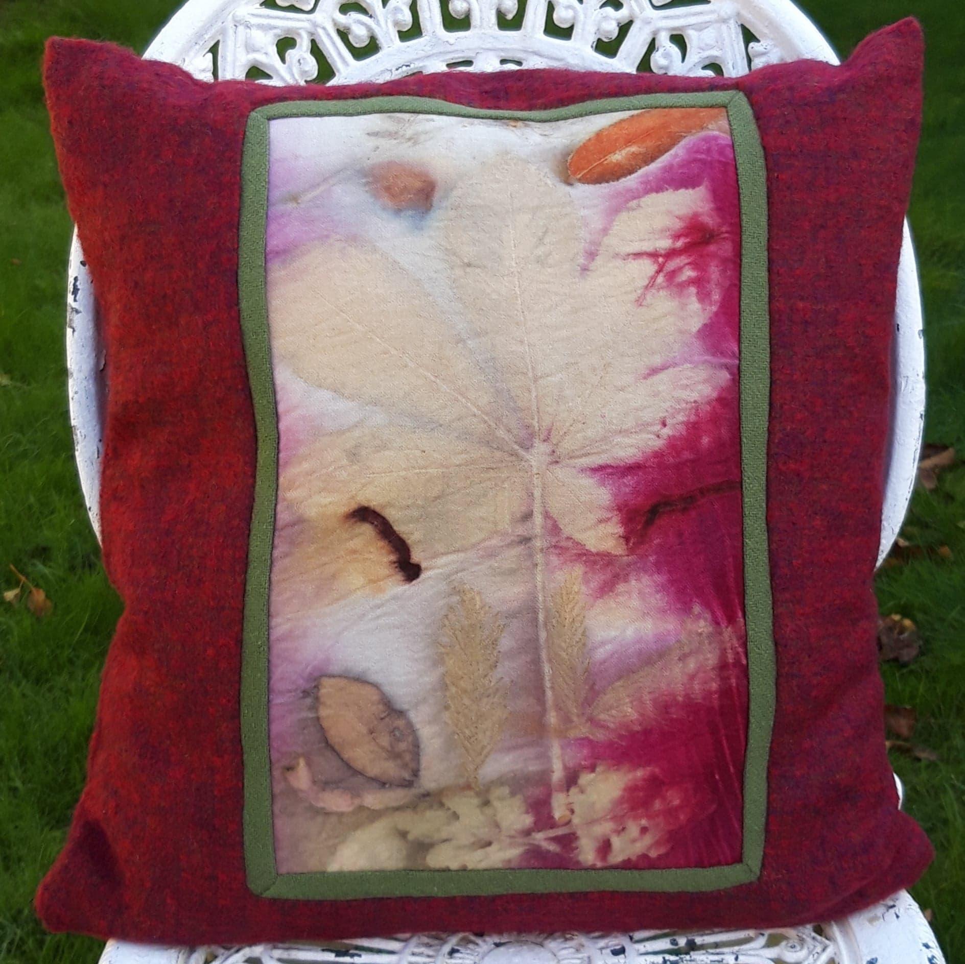 wool ecoprinted panel cushion